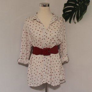 BeachLunchLounge Heart Button Down Blouse Large